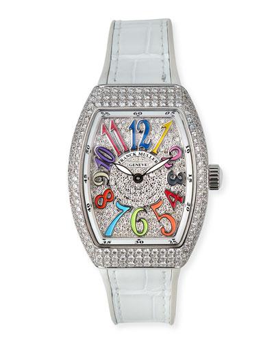 Vanguard 32mm Color Dreams All-Diamond Watch w/ Alligator Strap, White