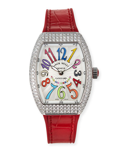 Lady Vanguard Color Dreams Diamond Watch w/ Alligator Strap, Red