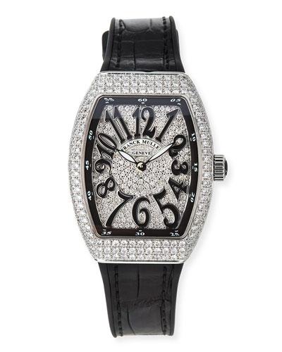 Vanguard 32mm All-Diamond Stainless Steel Watch w/ Alligator Strap, Black