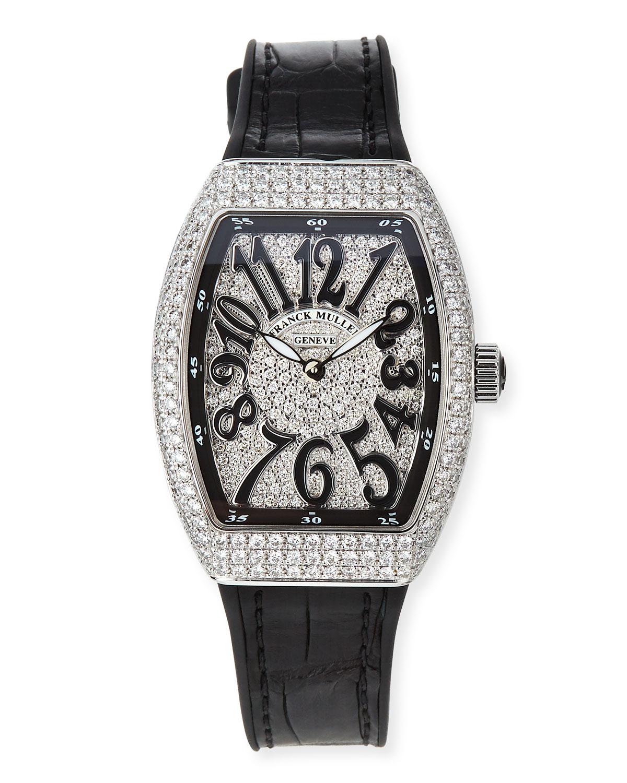 Vanguard 32mm All-Diamond Stainless Steel Watch w/ Alligator Strap