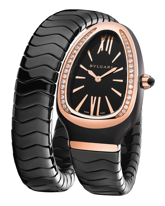 35mm Serpenti Spiga 18k Rose Gold Black Ceramic Wrap Watch with Diamonds