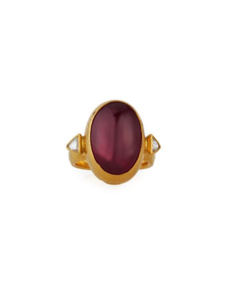 Gurhan One-of-a-Kind 24K Pink Tourmaline Oval Ring w/ Diamonds, Size 7