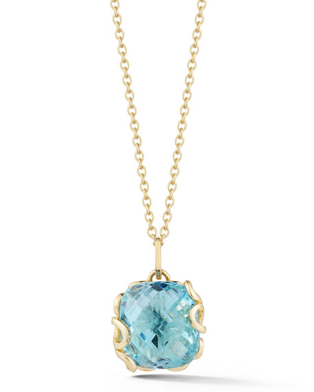 Miseno Sea Leaf 18k Yellow Gold Blue Topaz Pendant Necklace