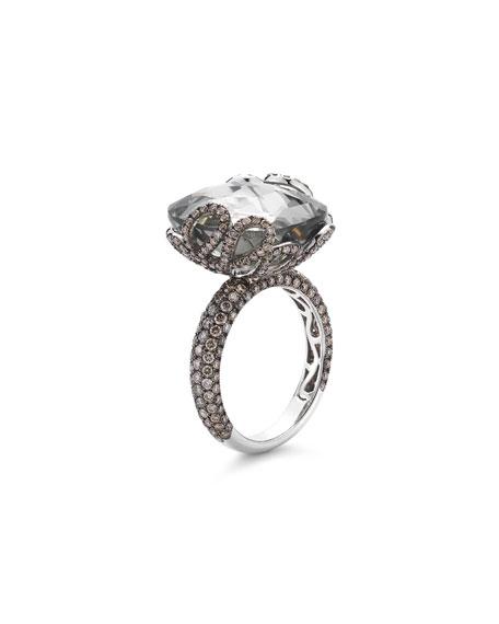 Miseno 18k White Gold Sea Leaf Green Amethyst/Diamond Ring, Size 6.5