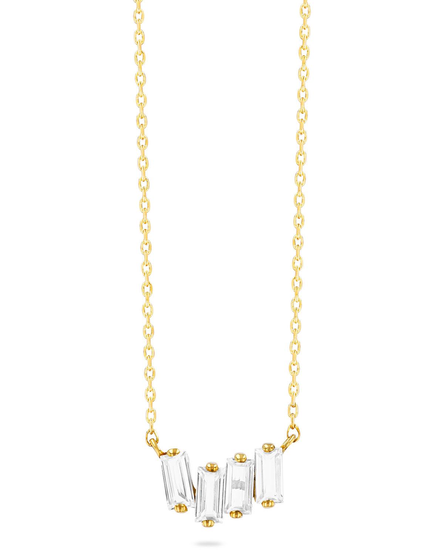 14K Yellow Gold Mini Baguette Topaz Pendant Necklace