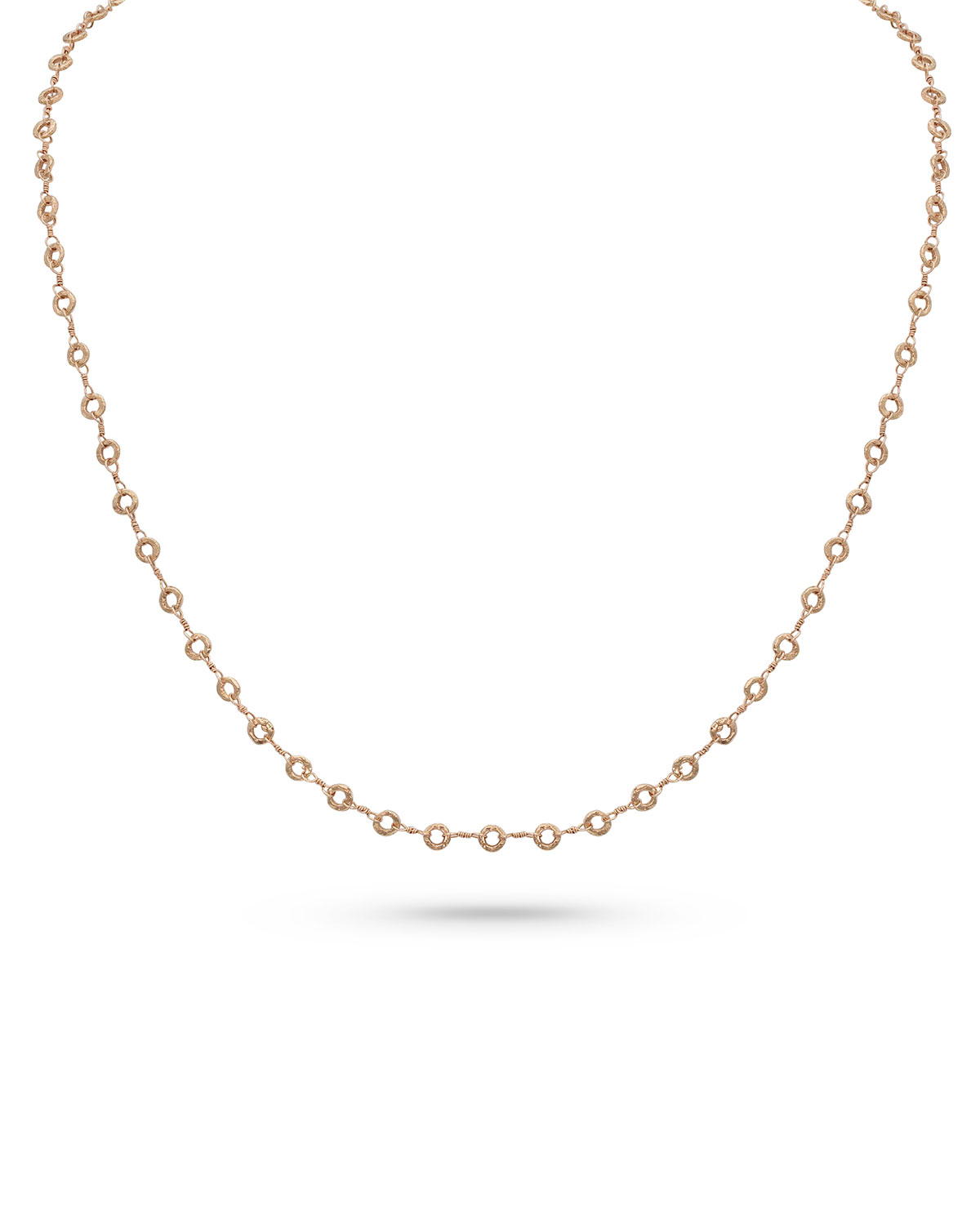 18k Rose Gold Carved Ring Delicate Chain Necklace