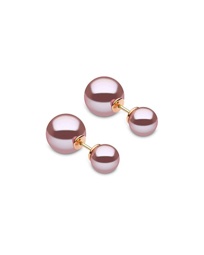 18k Rose Gold Double-Sided Pink Freshwater Pearl Earrings
