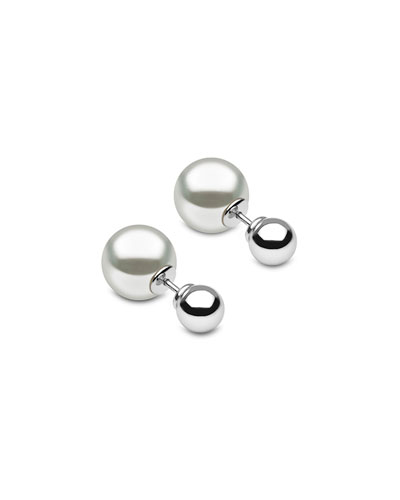 18k White Gold Double-Sided South Sea Pearl Earrings