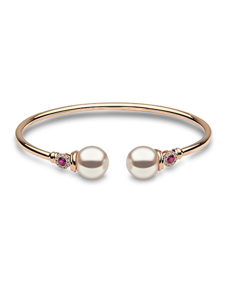 Yoko London 18k Diamond/Ruby 2-Pearl Bangle