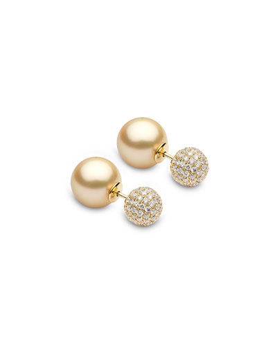 18k Double-Sided Golden Pearl-Pave Earrings