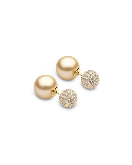 Yoko London 18k Double-Sided Golden Pearl-Pave Earrings