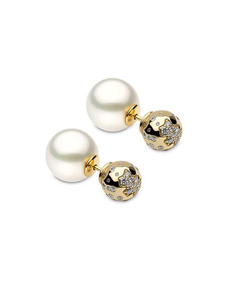 Yoko London 18k Double-Sided Pearl Stud Earrings w/ Diamonds