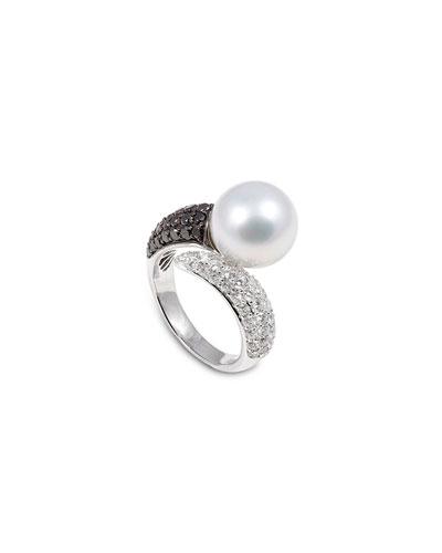 18k White Gold Black & White Diamond 1-Pearl Ring