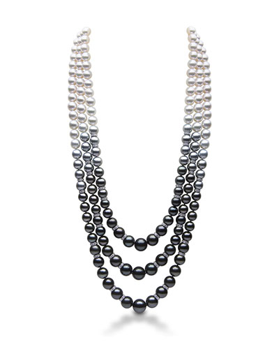 18k Ombre Tahitian/South Sea/Akoya Pearl Necklace