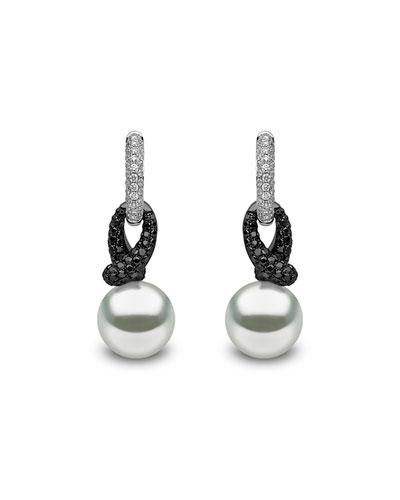 Black & White 18k Diamond Pearl-Drop Earrings