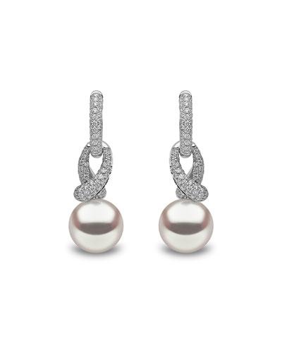 18k White Gold Diamond Looped Pearl-Drop Earrings