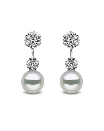 18k White Gold Diamond Pearl-Drop Earrings