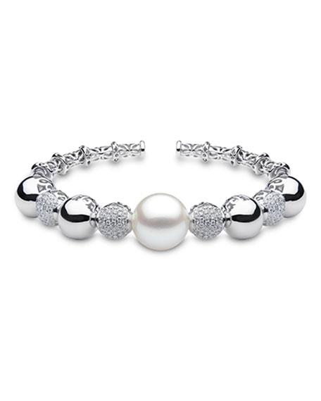 Yoko London 18k White Gold Alternate Pearl/Pave Bracelet