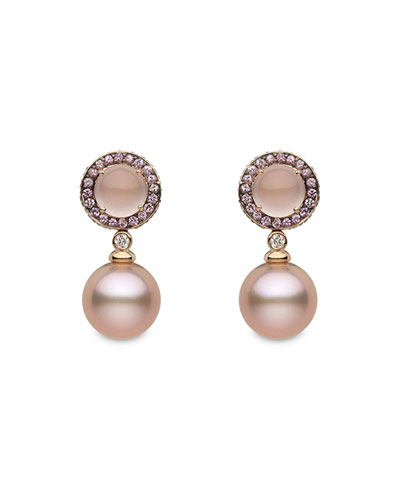 18k Rose Gold Sapphire-Halo Pink Pearl-Drop Earrings