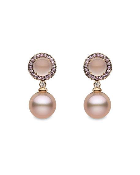Yoko London 18k Rose Gold Sapphire-Halo Pink Pearl-Drop Earrings