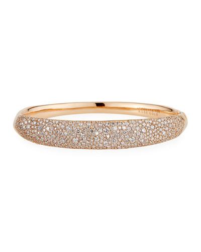 Stardust 18k Rose Gold Diamond Pave Hinged Bangle