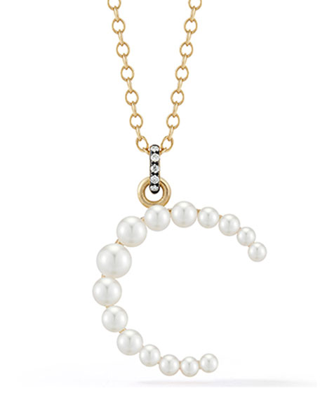 Jemma Wynne Prive 18k Pearl Letter C Necklace