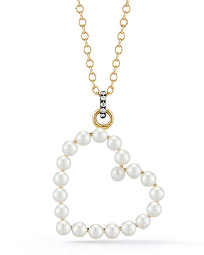 Prive 18k Pearl Open Heart Necklace