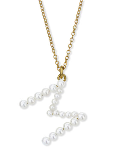 Prive 18k Pearl Letter M Necklace