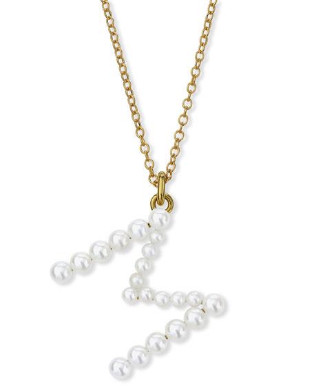 Jemma Wynne Prive 18k Pearl Letter M Necklace