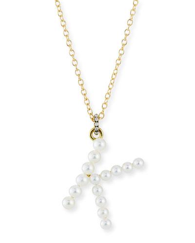 Prive 18k Pearl Letter K Necklace