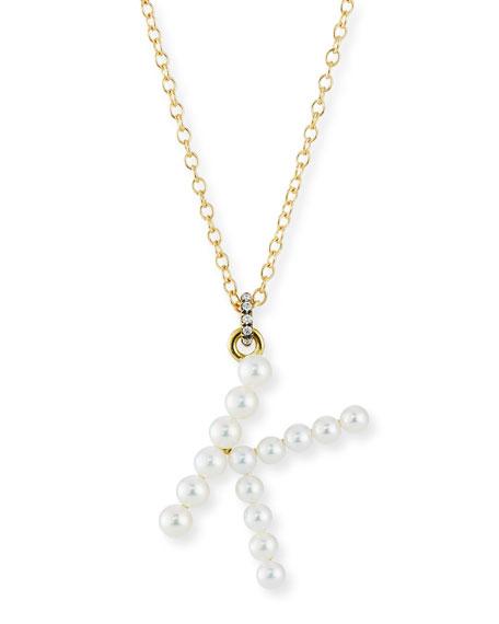 Jemma Wynne Prive 18k Pearl Letter K Necklace