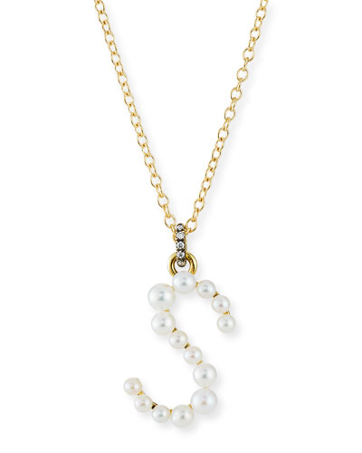 Prive 18k Pearl Letter S Necklace