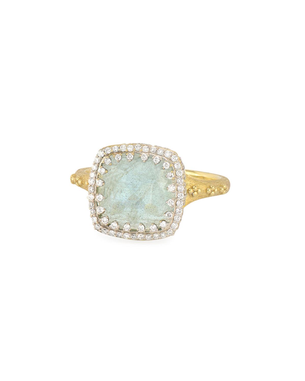 Jude Frances Provence 18K Labradorite Cushion Ring W/ Diamonds