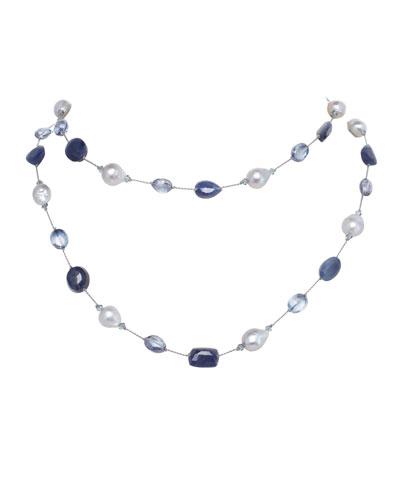 Long Baroque Pearl, Sapphire & Quartz Necklace