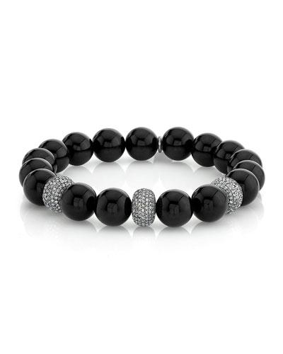 10mm Onyx Diamond-Pave 3-Bead Bracelet