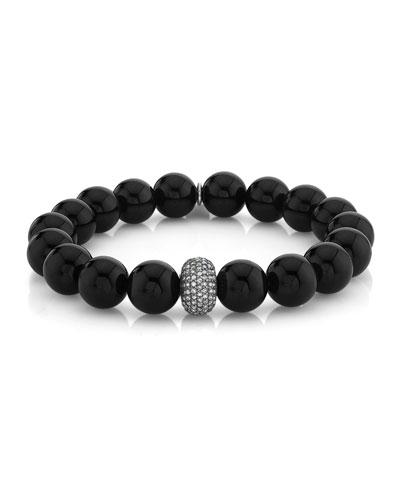 10mm Onyx Diamond-Pave Bead Bracelet