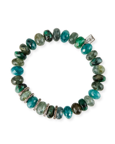 Diamond 5-Rondelle Blue/Green Mix Bead Bracelet