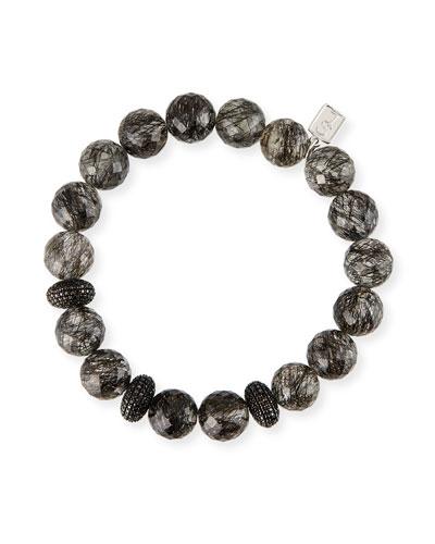 Black Diamond 3-Donut Quartz Bead Bracelet