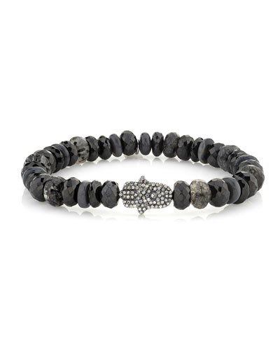 Mixed Black Bead Diamond Hamsa Bracelet