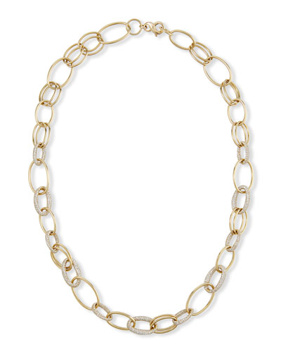 Long Stardust Link Necklace in 18K Gold w/ Diamonds