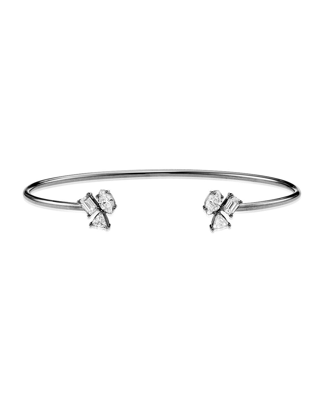18k White Gold Irregular Diamond Wire Cuff
