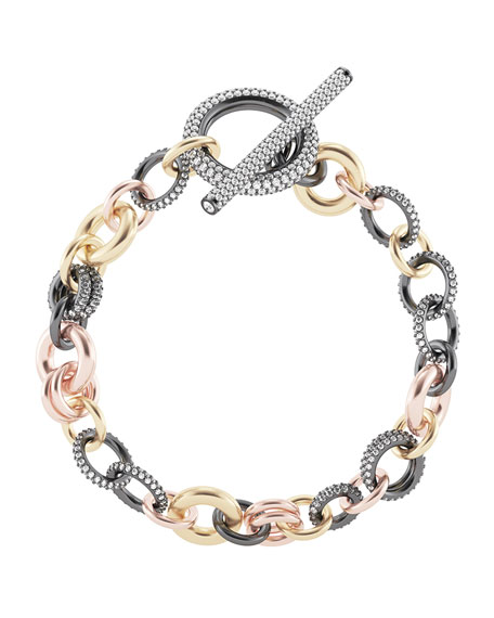 "Spinelli Kilcollin 18k Gold & Silver Multi-Chain Bracelet w/ Diamonds, 8""L"