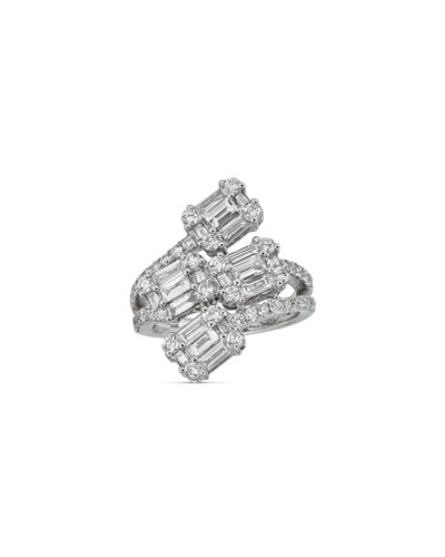 18k White Gold Diamond Cluster Bypass Ring, Size 7