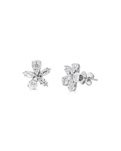 18k White Gold Diamond Flower Stud Earrings, 1.81tcw