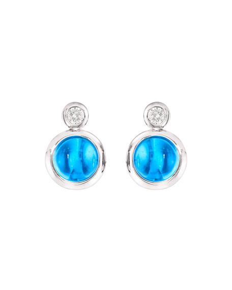 Tamara Comolli Bouton 18k White Gold Swiss Topaz/Diamond Post Earrings