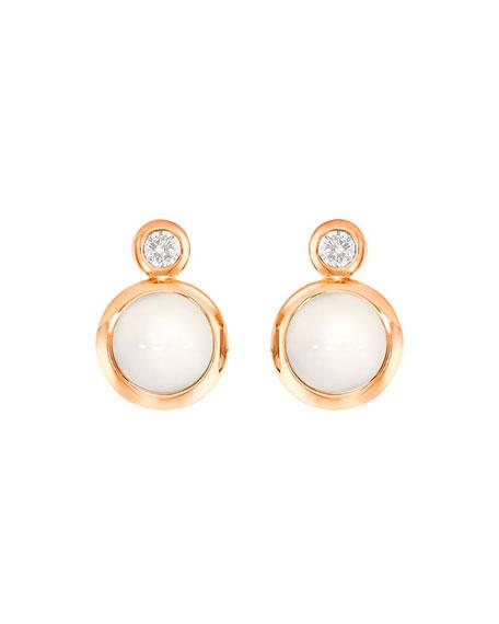 Tamara Comolli Bouton 18k Rose Gold Sand Moonstone/Diamond Post Earrings