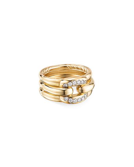 David Yurman Thoroughbred 18k Diamond Cushion Link Ring, Size 8