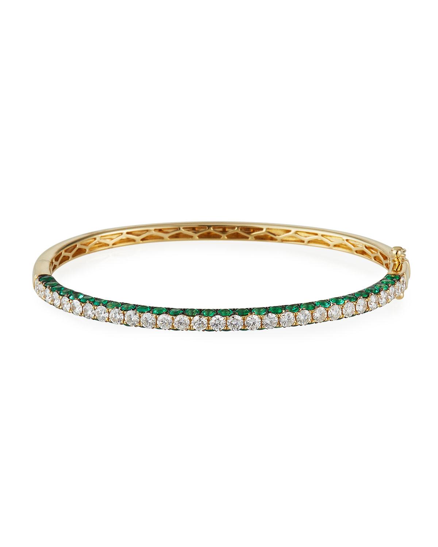 18k Yellow Gold 3-Sided Emerald/Diamond Bracelet