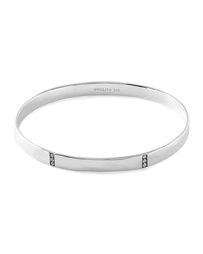 Sterling Silver Senso™ 3-Section Medium Bangle with Diamonds