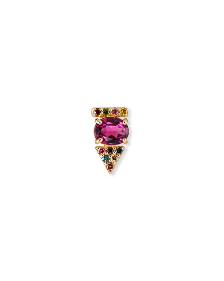Stevie Wren 14K Rose Gold Rhodolite & Rainbow Diamond Arrow Stud Earring, Single